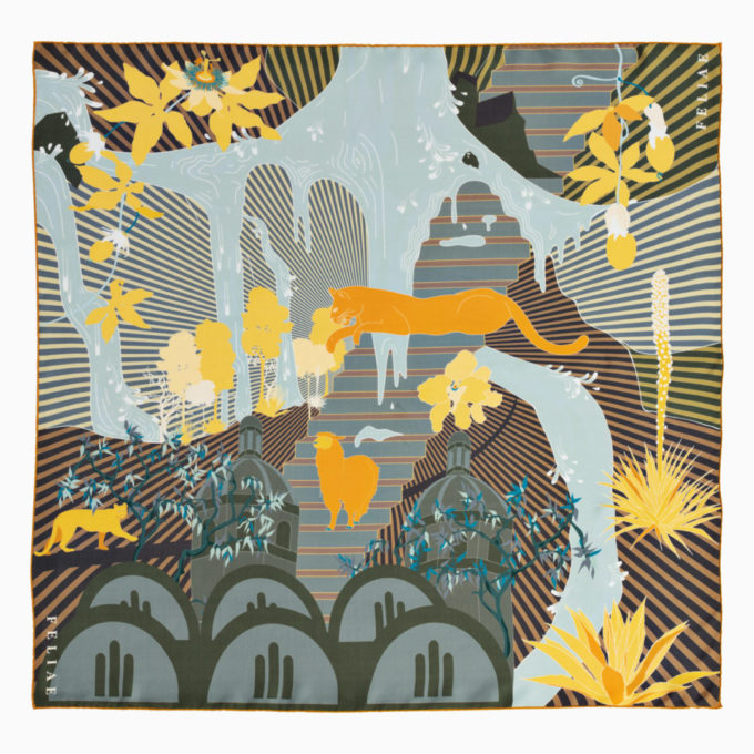 shop feliae middleworld 90 silk scarf yellow ecuador packshot now