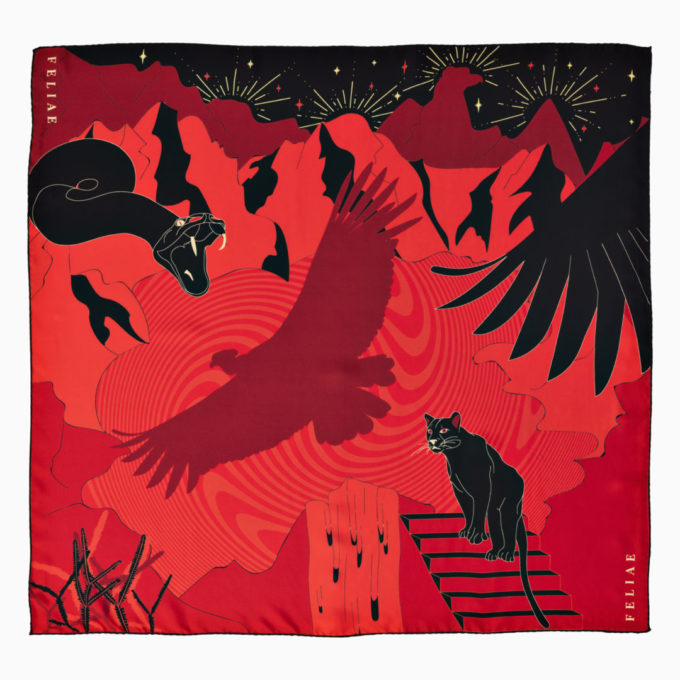 shop feliae upper world 90 silk scarf red ecuador packshot now