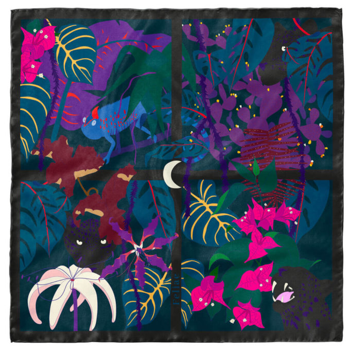 shop feliae nadir 90 silk scarf black morocco packshot now