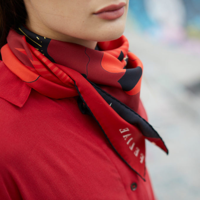 shop feliae upper world 90 silk scarf red ecuador fashion now